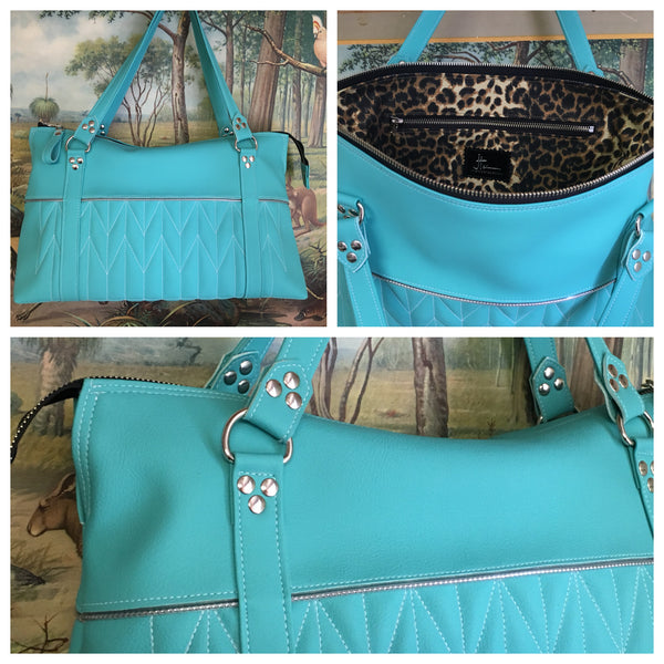 PRE-ORDER! Zipper Tote Bag with Firebird Pleating - Turquoise Vinyl / Leopard Canvas Lining