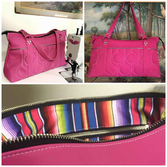 Zipper Tote Bag with Bubble Pleating - Hot Pink Vinyl / Fiesta Print Lining