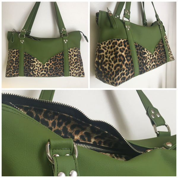 Western Zipper Tote Bag  - Tiki Green Vinyl / Leopard Canvas