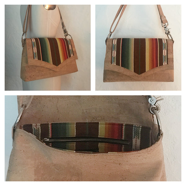 Saddle Bag - Natural Cork / Tan Serape Fabric - Cross Body Strap