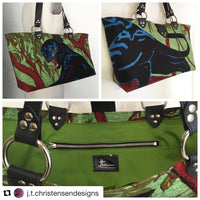 Panther Open Tote with Olive Green Cotton Lining - LIMITED EDITION