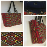 Re-purposed Tapestry Tote /  Navy Blue Lining - Black Leather Straps ONLY ONE
