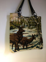 Re-purposed Deer Tapestry Tote /  Olive Green Velveteen Lining