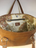 Open Tote with Mercury Style Pleating - Cognac Leather / Re-purposed Gold Floral Lining