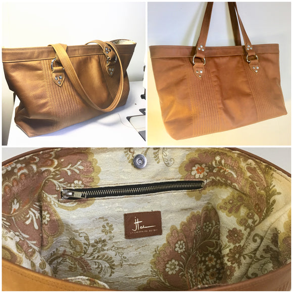 "Open Tote with Mercury Style Pleating in Limited Edition Cognac Leather Lined with Re-Purposed 70's Floral Fabric Lining. Measuring 15"" across bottom (19"" across top) x 10"" x 5"" (38 cm At Bottom / 48.25 cm At Top x 25.5 cm Tall x 12.5 cm Wide) and 24"" (61cm) Straps. An open divided pocket and zipper pocket with hidden serial number and signature J.T. Christensen Label."