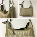 PRE-ORDER! Hobo Shoulder Bag with Firebird Pleating - Gold Rush Vinyl / Leopard Lining