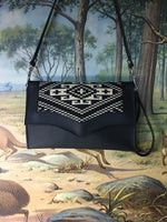 Clutch / Shoulder Bag - Aztec Print with Pebble Black / Sangria Red Lining