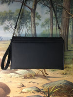 Clutch / Shoulder Bag With Mercury Style Pleating - Pebble Black / Turquoise Serape Lining