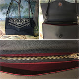 Clutch Bag with Aztec Print on Pebble Black with Sangria Red Lining Inside Zipper Pocket with Two Expanding Open Pockets, magnetic snap closure, and signature Trophy Queen label inside, turns from Wrist Zipper Pull strap into a long strap shoulder bag.