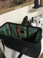 PREORDER! City Bag with Firebird Style Pleating - Pebble Black with Turquoise Serape Print Lining