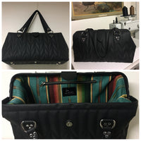 PREORDER! City Bag with Firebird Style Pleating - Pebble Black with Turquoise Serape Print Lining features a Magnetic Flap Closure, Hidden Metal Hinge Frame, Nickel Bottom Feet, Interior Zipper Pocket and Interior Divided Pocket, and Made From High Grade Auto / Marine Vinyl. Signature Label with Hidden Serial Number. Because This Item Is Made Specially For You - All Sales Are Final, No Refunds / No Returns.