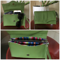 PRE-ORDER! Clutch Bag With Mercury Style Pleating - Tiki Green / Fiesta Print Lining