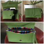 Clutch Bag With Mercury Style Pleating - Tiki Green / Fiesta Print Lining