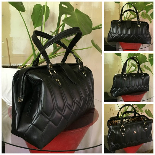 PRE-ORDER! City Bag with Riviera Style Pleating - Onyx Black with Leopard Lining