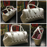 PRE-ORDER! City Bag with Riviera Style Pleating - Pearl White with Fiesta Print Lining