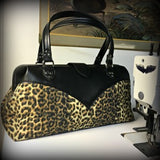 Western City Bag- Leopard Canvas / Onyx Black - Magenta Geometric Lining