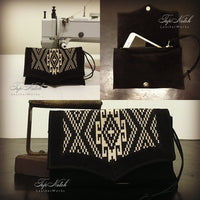 Death Valley Clutch Bag - Aztec Print / Black Suede