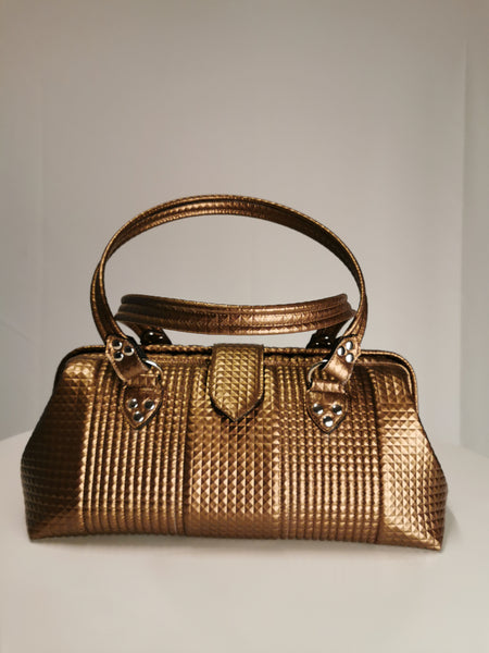 Small City Bag - Bronze Pyramid Vinly /Leopard Lining