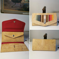 In Stock! Large Wallet - Natural Cork with Serape Insert / Brick Vinyl Lining