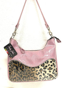 "El Dorado Hobo Bag in Leopard and Blush Pink Glitter with plush leopard print lining handcrafted in California measuring approximately 12""x9""x2.5"" (30.5cm x 23cm x 6cm) with inside open divided pocket and inside zipper pocket with inside hidden serial number and 26"" should strap. Tote comes with vinyl zipper pull, nickel fee and signature Trophy Queen label."