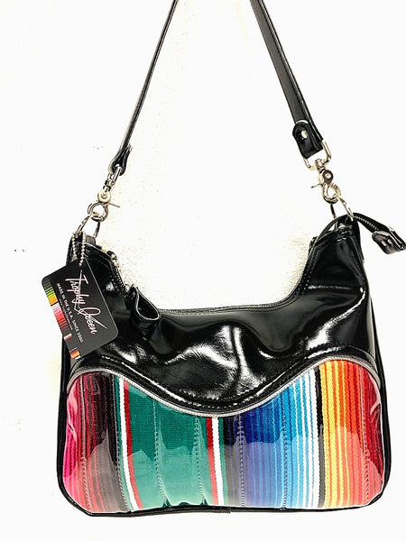 El Dorado Hobo Bag - Mexican Blanket / Grease Black Vinyl -  Leopard Lining