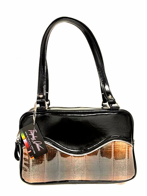 Tuck and Roll Tote Bag - Brown Pendleton / Grease Black Vinyl - Leopard Lining