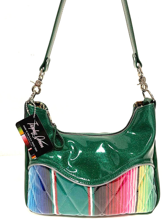 "Pleated El Dorado hobo bag in green glitter vinyl and Mexican Blanket with plush leopard lining  handcrafted in California. Medium size featuring 26"" shoulder strap, insize open divided pocket and inside zipper pocket. Signature Trophy Queen label inside and hidden serial number."