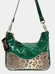 "El Dorado Hobo Bag in Leopard and Green Glitter Vinyl with plush leopard print lining handcrafted in California measuring approximately 12""x9""x2.5"" (30.5cm x 23cm x 6cm) with inside open divided pocket and inside zipper pocket with inside hidden serial number and 26"" should strap. Tote comes with vinyl zipper pull, nickel fee and signature Trophy Queen label."