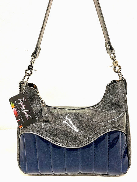 El Dorado Hobo Bag - Blue Glitter Vinyl / Light Gray Glitter -  Leopard Lining