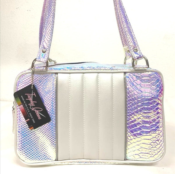 Roadster Tote - Mermaid  / Pearl White Pleat and Piping - Leopard Lining