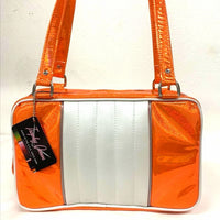 Roadster Tote - Cosmic Orange  / Pearl White - Leopard Lining