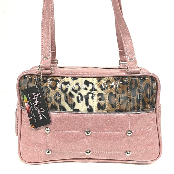 "Lincoln Tote in Blush Pink Glitter and Leopard and Clear Overlay with Plush Leopard Lining. Made matching vinyl zipper pull, nickel feet, inside zipper pocket with serial number and open divided pocket with signature Trophy Queen label. The straps are approximately 25"" and come with an extra set of replacement straps. Locally made and ships from California"