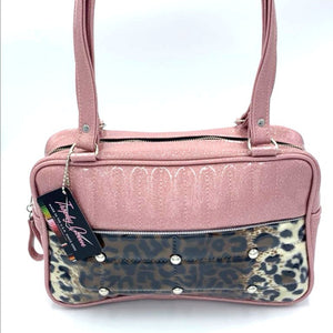 In-Stock! Lincoln Tote - Leopard Print Lower Pleat / Blush Pink - Leopard Lining