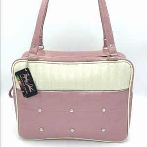 Lincoln Business Bag - Blush Pink / White Glitter- Leopard Lining