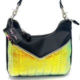 KUSTOM Skyliner Hobo Bag - Dayglow Gator  / Matte Black