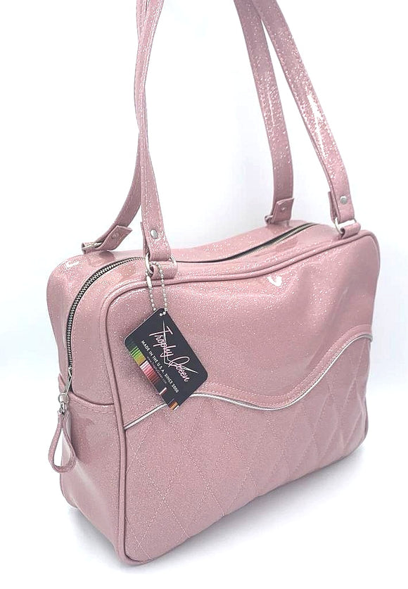 Diamond Pleat Tuck and Roll Business Bag - Blush Pink Glitter Vinyl / Leopard Lining