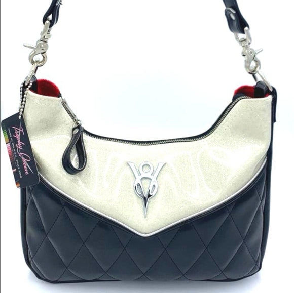 KUSTOM V8 Skyliner Hobo Bag - Grease Black / White Glitter - Red Lining