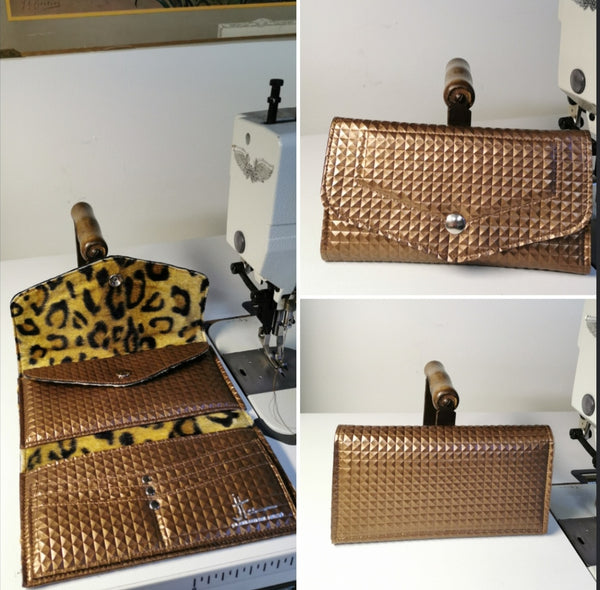Large Wallet - Bronze Pyramid Vinyl / Plush Leopard Lining