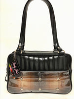 Lincoln Tote Bag - Brown Pendleton / Grease Black Vinyl - Leopard Lining