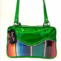Tuck & Roll Tote - Mexican Blanket / Cosmic Green - Leopard Lining