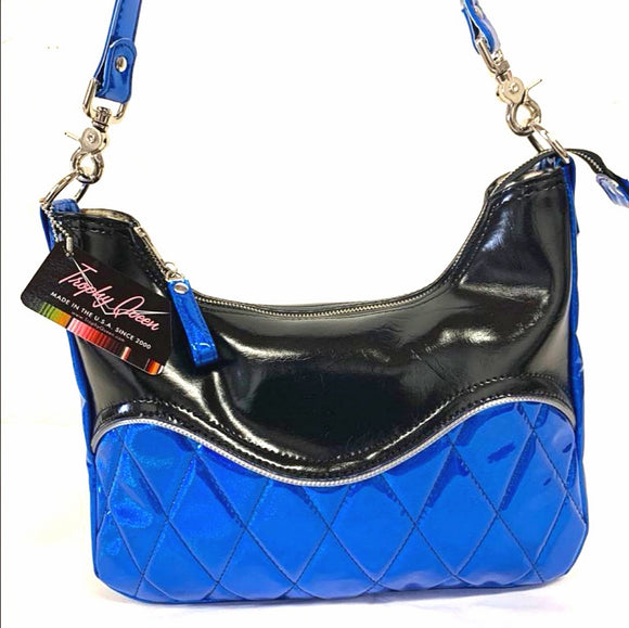 "Limited Edition Colors! Diamond pleat El Dorado hobo bag in cosmic blue vinyl and grease black with plush leopard lining  handcrafted in California. Medium size featuring 26"" shoulder strap, insize open divided pocket and inside zipper pocket. Signature Trophy Queen label inside and hidden serial number."
