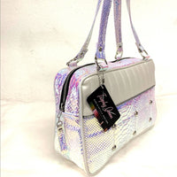 Lincoln Tote - Mermaid /  Pearl White - Leopard Lining