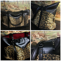 Get Away Weekender Bag - Leopard / Onyx Black - Sangria Red Lining