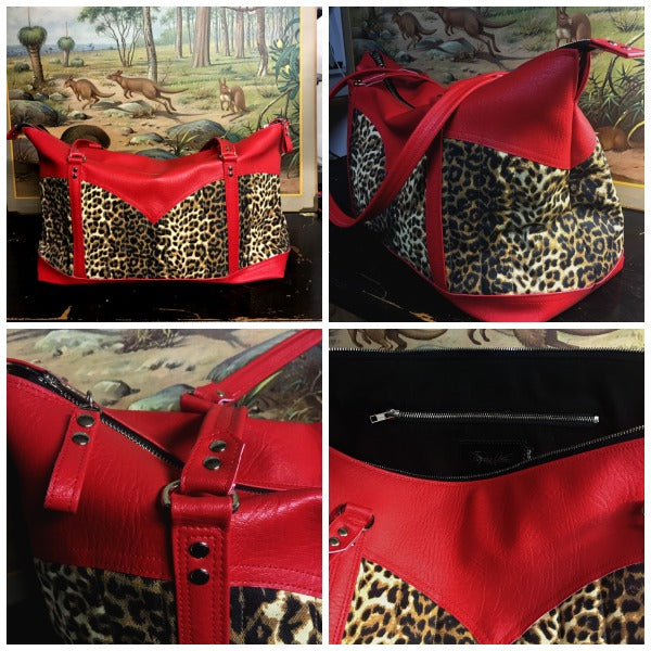 Get Away Weekender Bag - Leopard Canvas / Bombshell Red - Black Lining