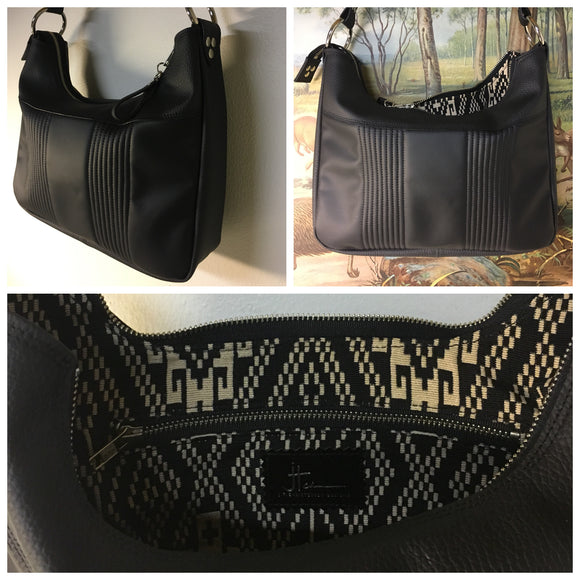 Hobo Shoulder Bag with Mercury Pleating in Satin Black and Pebble Black Vinyl with Aztec Print Lining measuring Approx. Measures 12