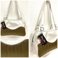 Tuck and Roll Tote Bag - Gold '64 Buick Fabric / Pearl White - Leopard Lining