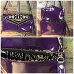 Clutch / Shoulder Bag - Purple Glitter Vinyl / Aztec Print