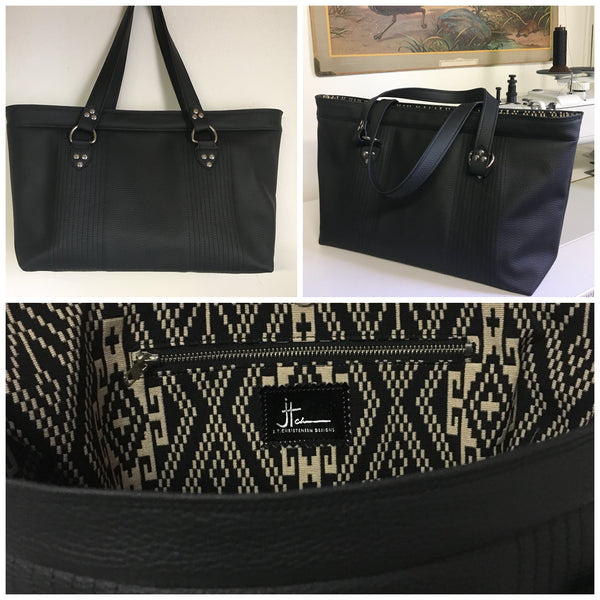 PRE-ORDER! Open Tote with Mercury Style Pleating - Pebble Black Vinyl / Aztec Print Lining