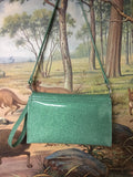 Clutch / Shoulder Bag With Mercury Pleating - Sea Foam Green / Silver Lining