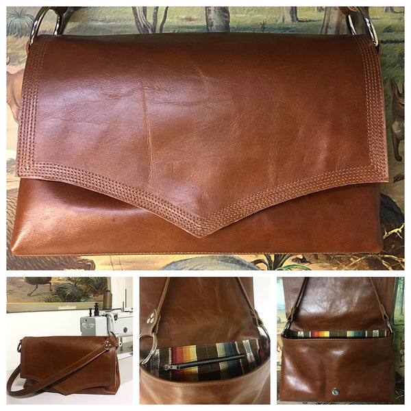 Saddle Bag - Distressed Whiskey Leather / Tan Serape Fabric